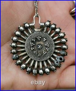 Antique Silver Bulgarian Revival Ethnic Necklace Pendant Arpalia Filigree 19th