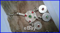 Antique Silver Moroccan Berber Coin Earring Ethnic Red Enamel African Earrings