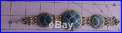 Antique Silver Moroccan Berber Ethnic Tribal Blue Lapis Cloisonne Moon Bracelet