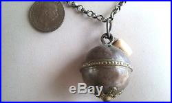 Antique Silver Necklace 42 inch Long Chain with 5 Pendants