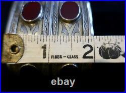Antique Tekke silver Turkoman cuff with 6 Carnelian stones