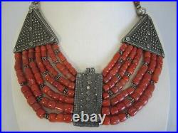 Antique Tribal Silver And Coral Necklace 162 Grams