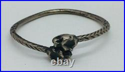 Antique Trinidad Sterling Silver Hand Made Double Panther Bracelet