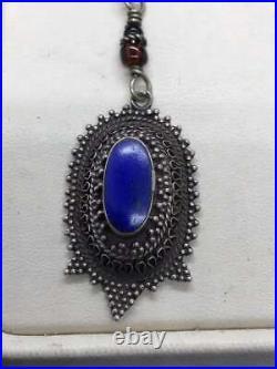 Antique Turkoman Ethnic Tribal Sterling Silver Earring Lapis lazuli gemstone
