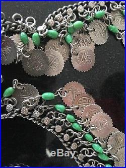 Antique Vintage 1920's Art Deco Silver Murano Bead Belly Dance Belt Necklace