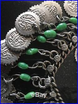 Antique Vintage 1920s Art Deco 500 Silver Slag Glass Belly Dance Belt Necklace