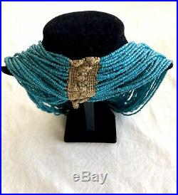 Antique/Vintage Naga Blue Bead Necklace 30, 39 Strands On Original Cord, 247 Gr