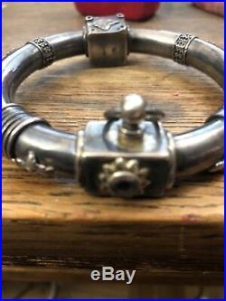 Antique Vintage Sterling Silver Bangle Slave Bracelet HallMarks From Israel