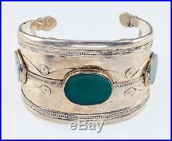 Antique Wide Turkmen Turkoman Green Aventurine Silver Cuff Bracelets