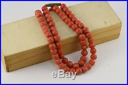 Antique coral beads old vintage necklace 34.5 grams