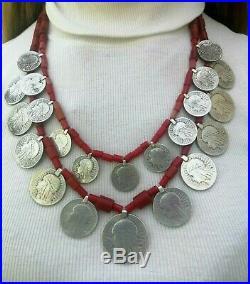 Antique necklace austria silver beads corals coins national ukrainian zgardy