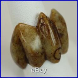 Antique or Vintage Chinese Hand Carved Mottled Brown All Jade Bat Figural Ring