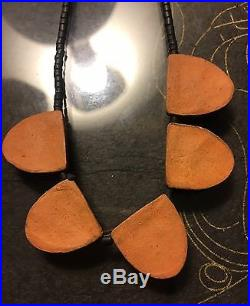 Antique/vtg Handmade Asian Noh Mask Japanese Pottery/clay/ceramic Necklace