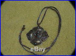 Arty 500 silver filagree medallion with blue & red settings & sterling chain