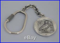 Athens Tetradrachm Goddess Athena & Owl of Wisdom Silver Keychain