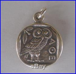 Athens Tetradrachm Goddess Athena & Owl of Wisdom Silver Pendant