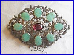 Austro-hungarian Pin Brooch & Pendant Garnet Cabochon Turquoise Sterling Silver
