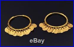 Authentic 22 K Yellow Gold Earring Vintage Antique Traditional Dangling Earring