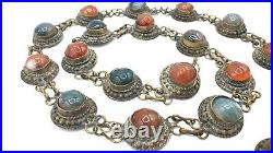 BIG Antique ETHNIC Metal TRIBAL Belt with Real Red & Green AGATES 37 Long