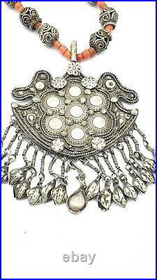BIG Antique ETHNIC Sterling Silver BELL Rattle TRIBAL Beaded Handmade Necklace