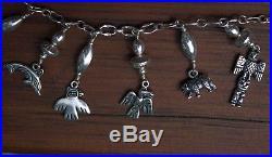 Beautiful Vintage Sterling Silver ALASKA BY KABANA Totem Tribal Charm Necklace