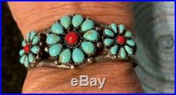 Beautifulvintage Turquoise & Coral Sterling Silver Bracelet Handmade