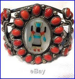 Benson Boyd Inlay Gahn Dancer with Coral Bracelet Sterling Silver