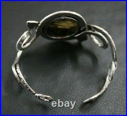 Bold Labradorite Oxidised 925 Sterling Silver Bohemian Serpent Statement Cuff
