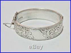 British Sterling Silver Bangle Bracelet London England Oval Bangle Embossed 925