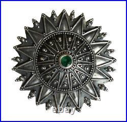 Byzantine Silver Brooch With Emerald High Quality Item Handmade in Greece