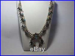 Carlene Leekity Zuni Squash Blossom Bird Sterling Silver Inlay Necklace NICE