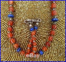 Carnelian Burma Lapis Old Silver Genuine Antique Beads Ethnic Necklace L= 30