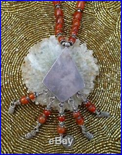 Carnelian Burmese & Old Tibetan Silver Hand Made Ethnic Necklace L= 37 Lovely