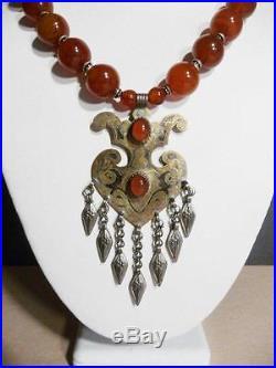 Carnelian Necklace Vintage artisan Tribal Breastplate dangles