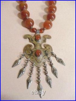 Carnelian Necklace large artisan runway Tribal dangles