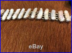 Charles Albert Sterling Silver Biwa Pearl Freeform Panel Link Toggle Bracelet