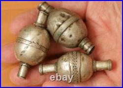 Closeout 100 years old Turkmen Tribal Solid Silver Beads 38, Grs Sz Lrg 58x28 mm