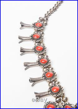 Coral & Sterling Squash Blossom Necklace