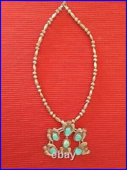 Custom Made Navajo Indian Squash Blossom Silver Blue Turquoise Red Coral