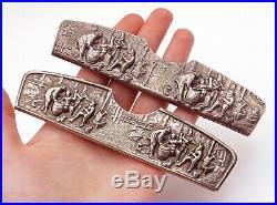 DENMARK 925 Silver Vintage 2 Pcs Sculpted Scene Dutch Style Comb Cases- T2056