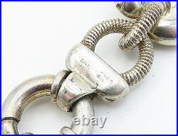 DNT ITALY 925 Silver Vintage Hollow Twist Round Link Chain Bracelet B8230