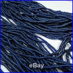 Dark Blue Beaded Naga Necklace Conch Chank Shell Closure Unusual Color 32-Strand