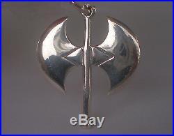 Double Headed Axe Silver Pendant Labrys Ancient Minoan Crete Greece