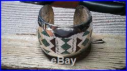 Early Vintage Navajo Signed Cj Charlie John Sterling Turquoise & Coral Bracelet