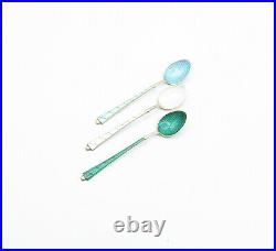 ELA DENMARK 925 Silver Vintage 3 Pcs Enamel Petite Espresso Spoons T2099