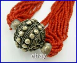 Elegant Vintage TIBETAN Silver & Coral Bead Multi-Strand Necklace