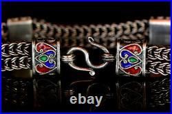 Enamelled Bracelet 925 Silver Bracelet Antique Silver Braclet Sz 170x13 mm Wt 33