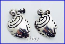 Estate Hector Aguilar Mexico Screw Back Earrings in 940 Grade Silver