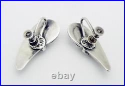 Estate Margot de Taxco Mexico Cornucopia Screw Back Earrings in Sterling Silver