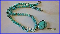 Estate turquoise & silver bezel pendant necklace turquoise nuggets stand 15